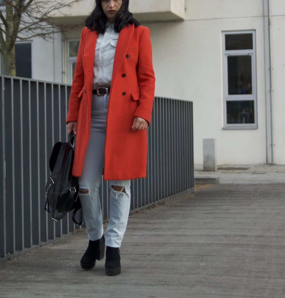 Denim on denim and red coat