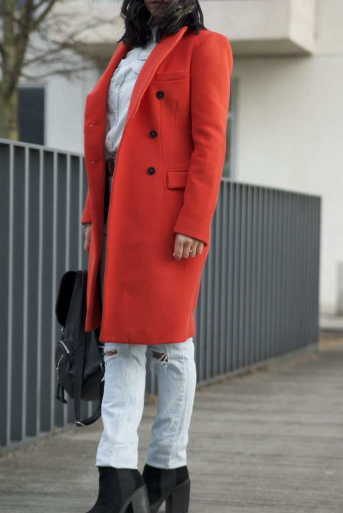 denim on denim , the red coat