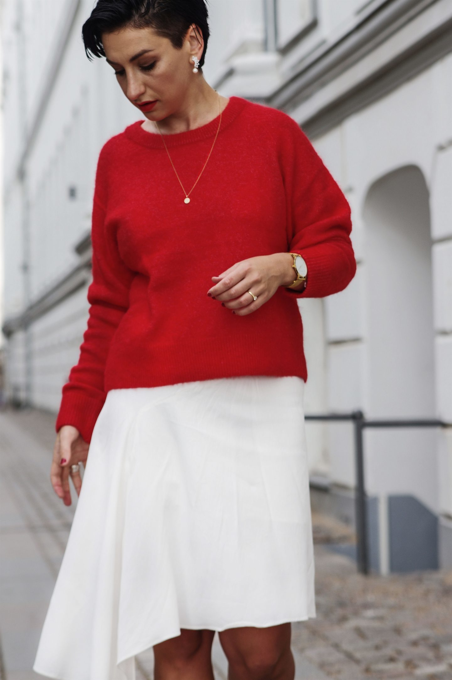 Red sweater and white skirt scandinavian Pinterest fashion Pinterest