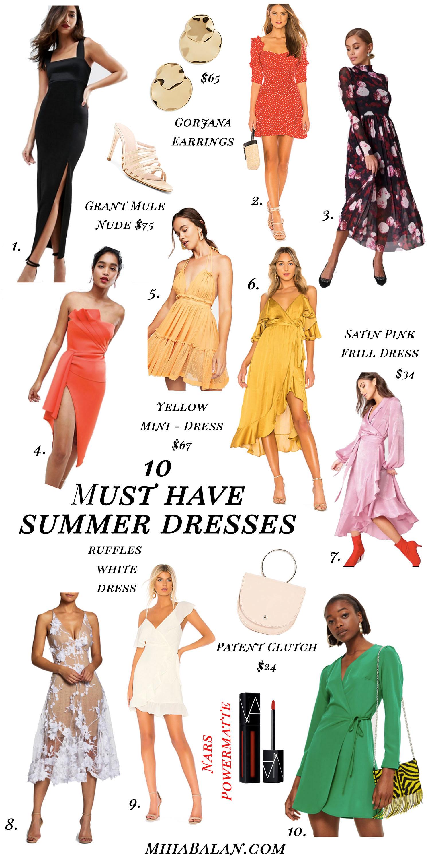 10 summer must have dresses, summer essentials, evening dresses, wedding dresses, casual dresses, stylish dresses