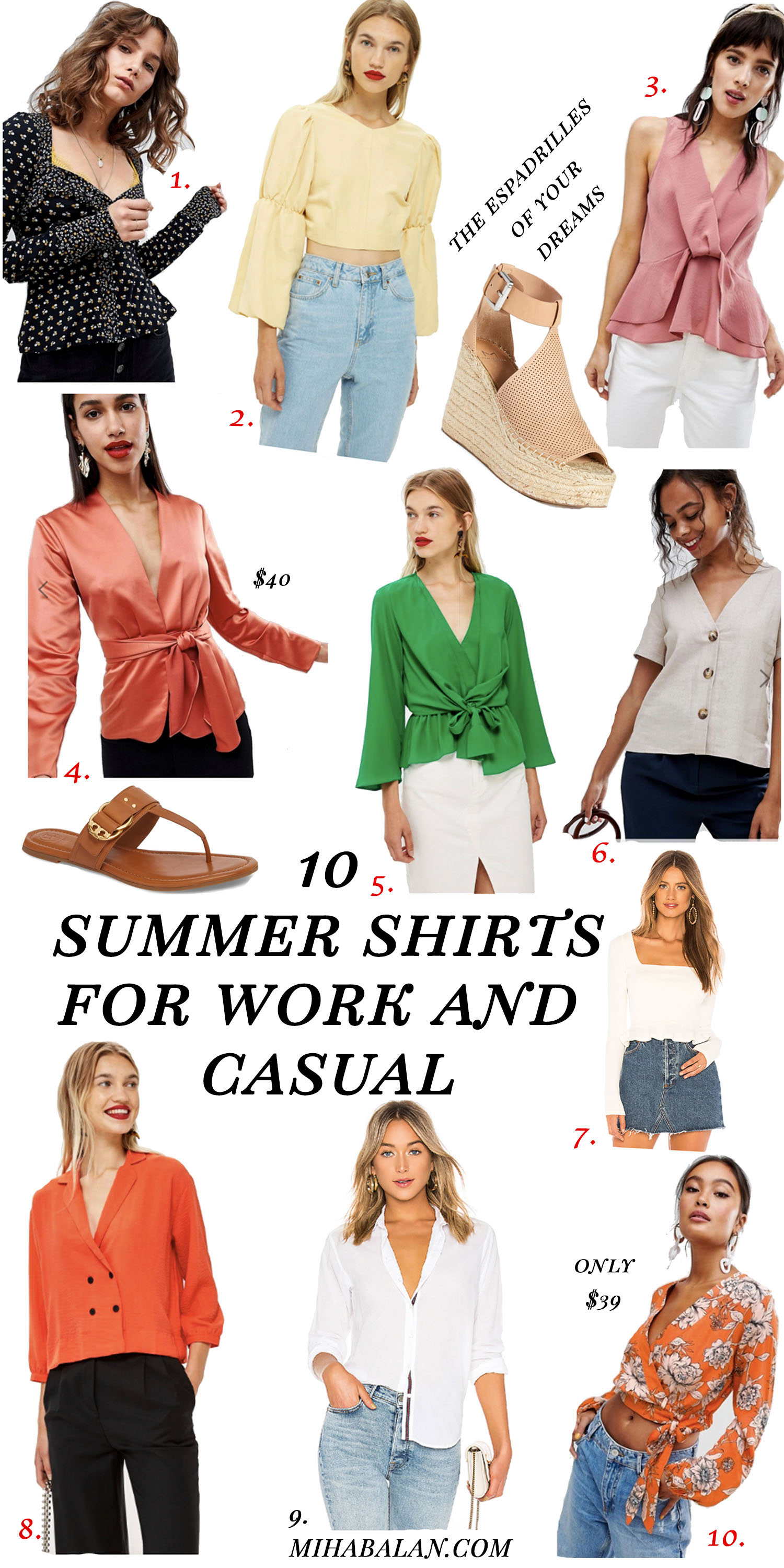 10 summer shirts and blouses for work wear and casual, summer fashion, summer style 2018jpg