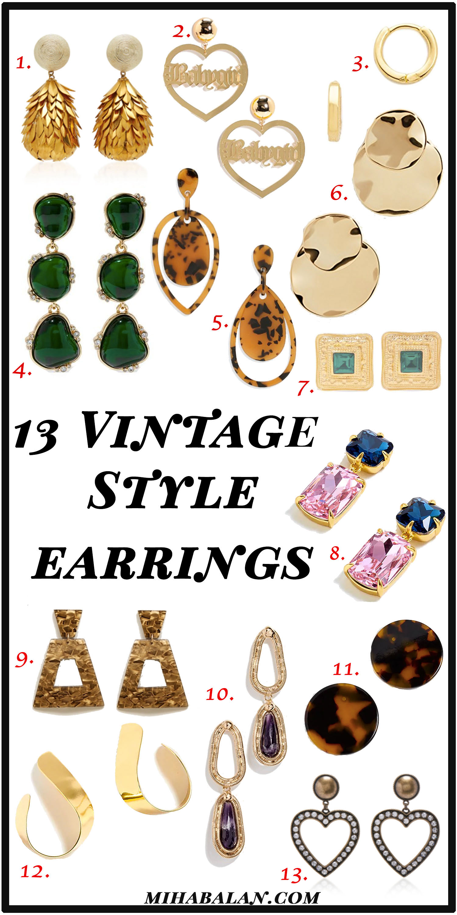 13 Statement Earrings, vintage inspired earrings, fall earrings, jewelry, jewellery, women accessories, hoops