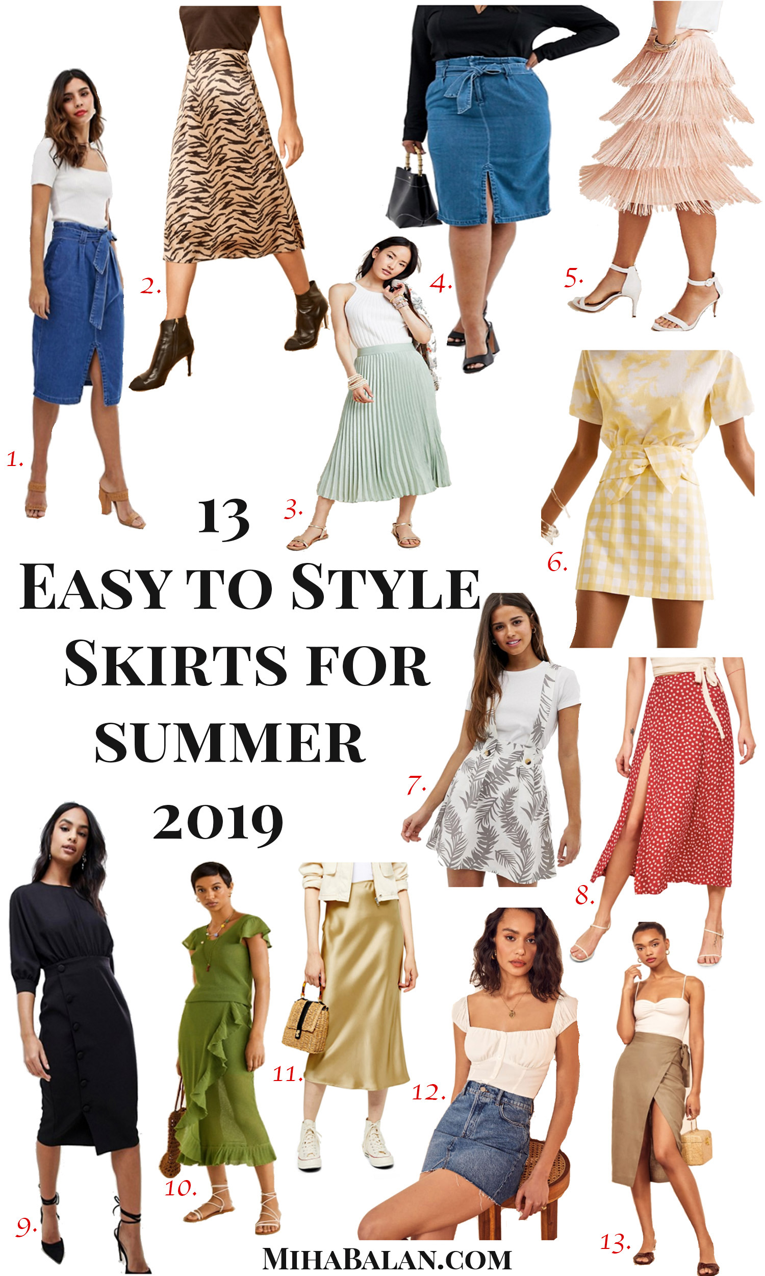 Easy to style summer skirts 2019, midi skirts, maxi skirts, floral skirts, work wear skirts, denim skirts